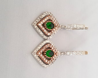 Sterling Silver Earrings ,Silver Earrings ,Emerald Earrings ,Zircon Earrings Rosesilver Earrings