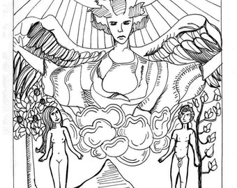 THE LOVERS - Tarot Card Ink Drawing