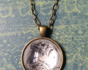Handmade skeleton pendant necklace