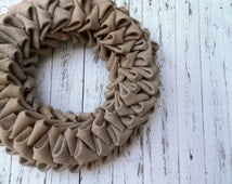 Natural Burlap 18'' wreath  - Simple Burlap Wreath