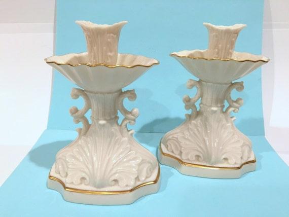 Lenox candlestick holders cream candle sticks beige