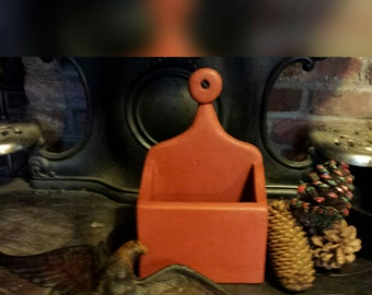 Primitive Candle Holder Wall Box Painted Pine Rustic 1930's