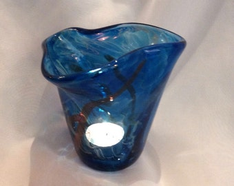 Blown Glass Flutter Votive in Blue.  Hand Blown Glass Votive Holder / Candle Holder.  Blue Glass Votive.