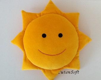 """12"""" Smiling Sun: Stuffed sun (Yellow) - Handmade stuffed baby toy, sun pillow, plush sun"""