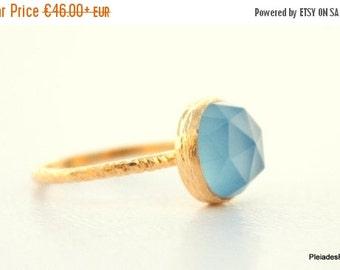 ON SALE Blue Chalcedony Gold Ring - Vermeil Gold Gemstone Ring  - Sea Blue Gemstone ring