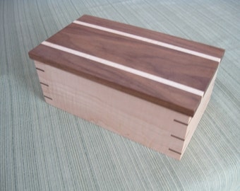 Wooden Keepsake Box, Valet Box, Jewelry Box made from Black Walnut and Curly Maple #175