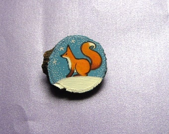 Fox, hand painted wooden brooch