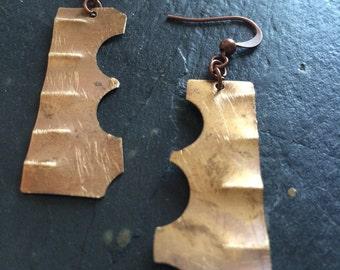 Geometic copper earrings