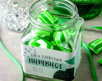 Boozy Gin and Elderflower Humbugs - Gift for Her - Party Favour - Wedding Favour - Food Gift - Gift for Him - Gin Gift - Bridesmaid Gift