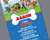 Paw Patrol Printed Invitations - Photo option available