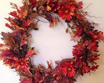 Fall wreath, October wreath, September wreath, Thanksgiving wreath, Leaves wreath, November wreath, Autumn wreath, red and orange wreath