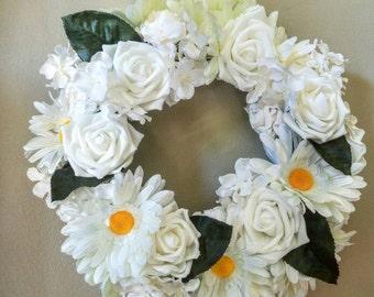 Floral wreath, White wreath, rose wreath, summer wreath, daisy wreath, wedding wreath, white wedding wreath, white hydrangea wreath