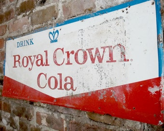 Royal Crown Cola Sign Authentic Vintage Raised Metal Sign Rustic Home Decor Red White and Blue Rare Sign Man Cave Soda Brand Sign Wall Decor
