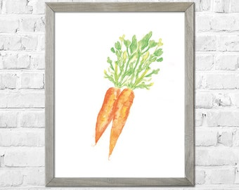 Carrots Art, Watercolor Print, Kitchen Art Print, Kitchen Wall Art, Vegetable Watercolor Painting, Kitchen Wall Decor, Wall Art Kitchen