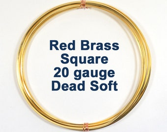 20ga Square Red Brass Wire - Choose Your Length