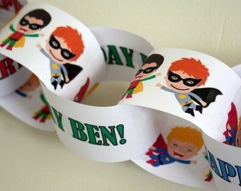 Personalised Paper Chain Garland Decoration - Super Hero/Pow/Children's/Masked - 2.5m (8ft)