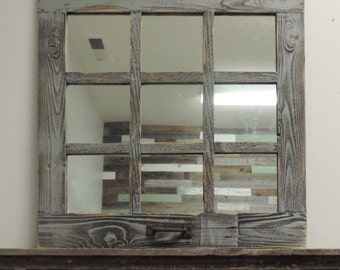 24 X 24 (9 Panes) Homesteader Style Barnwood Window Mirror