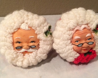 "Vintage Hand Made Santa Clause and Mrs. Clause Round Doll Christmas Ornaments  5 x 5 "" With Hangers"