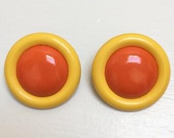 Yellow and Orange Mod Earrings