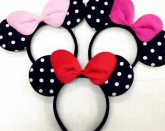 Red/pink polka dot minnie mouse ears headband / disney ears headband /pink  Minnie headband/ Disney trip