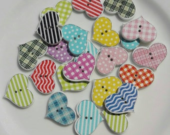 20 Wooden buttons in the shape of heart in Fantasy Mixed 24x19 mm