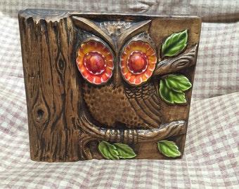 Vintage Mid Century Treasure Craft Pottery Owl Book End