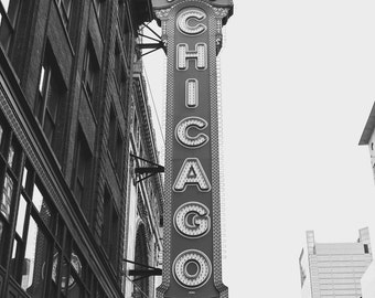 Downtown Chicago Illinois, Chicago Theater, Urban Architecture, Black and White Photography Fine Art Print