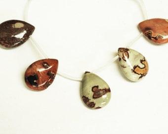 Red Artistic Jasper Teardrop Shape Beads