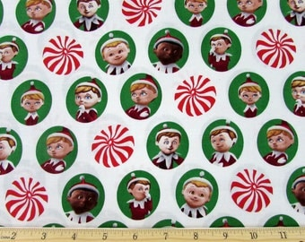 Elf on a Shelf Story Fabric Green From Quilting Treasures By the Yard