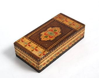 Vintage hand made wooden box case, handmade and hand painted box