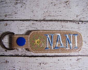 Nani - Flower -  In The Hoop - Snap/Rivet Key Fob - DIGITAL EMBROIDERY DESIGN