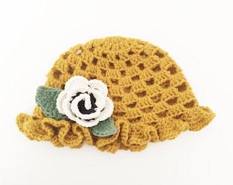 Crochet toddler girls flower hat  // gifts for her