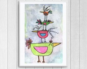 Whimsical Nursery Print Bird Friends