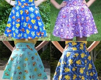 High Waist Pokemon Circle Skirt (Custom Size and Fabric)