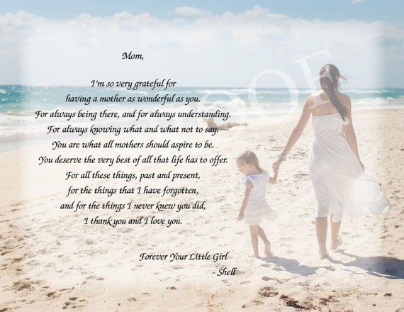 Mothers Day Gift - Mother Daughter Poem - Mothers Gift idea - Mother Daughter Beach Background