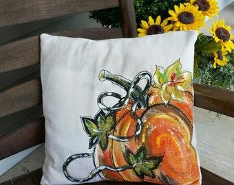 Fall Pumpkin, Pumpkin Patch, Fall Home Decor, Fall Festivals, Thanksgiving, Halloween, Holidays, Hand-painted, Handmade, Pillow Cover