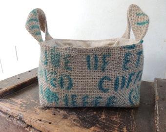 recycled burlap coffee bean bag storage basket