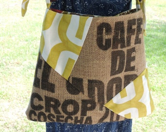 recycled upcycled burlap coffee bean bag purse