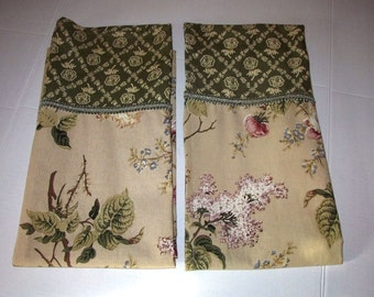 Waverly Brianna Emma's Garden Floral Cotton Tier Curtain Panels Fabric Tan Green