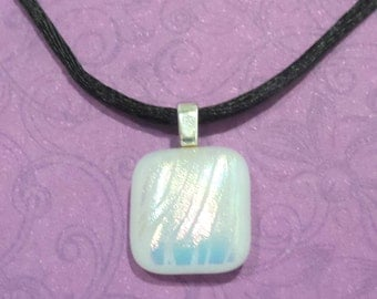 Small White Pendant, Striped Patterned Dichroic, Fused Glass Jewelry, Zebra Print - Winter Storm -- 6