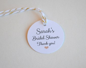 """Mini Shower 1.5"""" Round Small Label Tags - Custom Bridal or Baby Shower Favor & Gift Tags - Choice of Colors"""