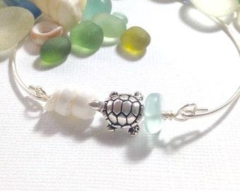 Sea Glass Bracelet Jewelry Beach Glass Bangle Bracelet Hawaiian Honu