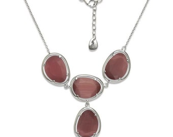 """Sterling Silver 18+1"""" Large Watermelon Cat Eye Y Design Necklace"""