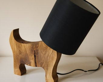 Oak Dog Light - wooden table lamp made from solid oak modern designer gift