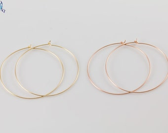 Plain Hoop Earrings,in sterling Silver,Gold Filled, Rose Gold Filled, Simple, Everyday minimal Wear, Lightweight thin Hoop, GFER47