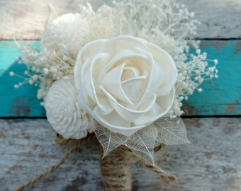 White Akito Balsa Wood Rose Boutonniere | Balsa Wood Flowers | Sola Flowers | Wedding Boutonniere - ID005