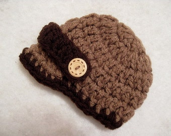 MADE TO ORDER Crochet Chunky Newsboy Hat With Buttons Newborn Photo Prop Choose Your Colors