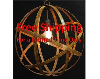 "Orb Chandelier Industrial Sphere Metal strap Globe Hanging Light 24"" with Single Socket 