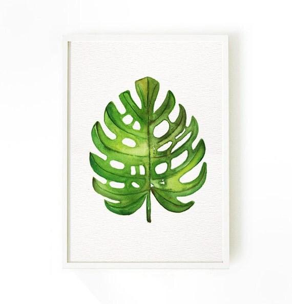 Palm leaf watercolor painting set of 3 botanical art green - Set de table feuille de palmier ...