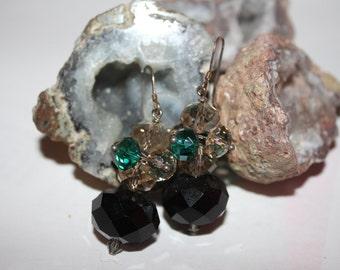 Green, Grey, Black Czech Bead Earrings